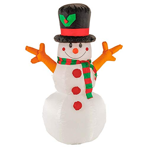 TCP Global Christmas Masters 5 Foot Inflatable Snowman with Top Hat and Scarf LED Lights Indoor Outdoor Yard Lawn Decoration - Fork Tree Branch Hands - Cute Fun Xmas Holiday Blow Up Party Display