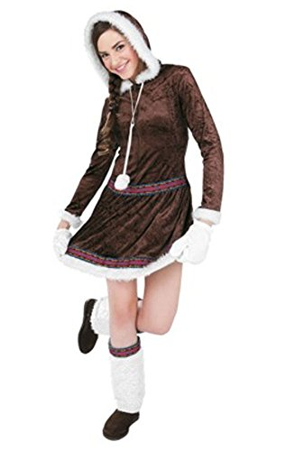 Eskimo Kisses Adult Costume S 4-6 Hooded Brown