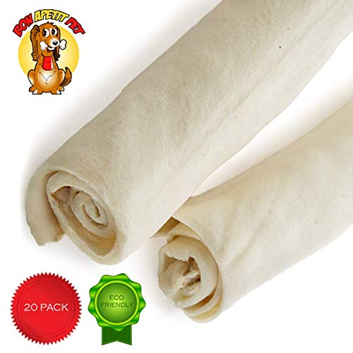 Rawhide Retriever Roll 8' - 9' (80gr) - 20 Pack - Over 3 pounds - All Natural Heavy, Long-Lasting, USDA-FDA Approved