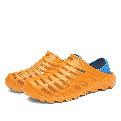 Playa de Hombres Zapatos del Sandalias Ahuecan Pisos Agujero Auspiciousi Casuales Los la hacia del de Manera Ligeros Fuera Respirables la Orange Verano 5TqAnXUw