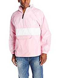 Charles River Apparel Men\'s Classic Striped Pullover Jacket, Pink/White, Medium