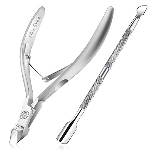Hand Filed Cuticle Nipper with Cuticle Pusher-Professional Grade Stainless Steel Cuticle Remover & Cutter-Durable Manicure and Pedicure Tool-Beauty Tool Perfect for Fingernails and Toenails (Sliver) from BlueOrchids
