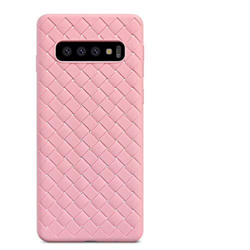 (ANERNAI Compatible with Samsung Galaxy S10 Case Weave Case, Ultra Thin Shockproof Breathable Soft TPU Durable Shell Cover Case (Pink))
