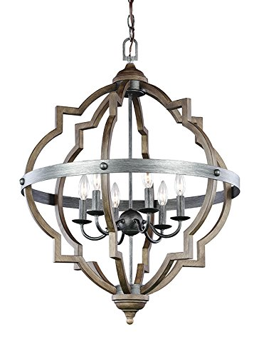 Sea Gull Lighting 5124906-846 Socorro Six-Light Hall or Foyer Light Fixture, Stardust Finish (Foyer Light Lamp Six)