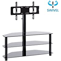 RFIVER Black Corner Floor TV Stand with Swivel Mount Bracket Accommodates TVs up to 65-inch, 3-Tier Tempered Glass Shelves for Audio Video, TW2002