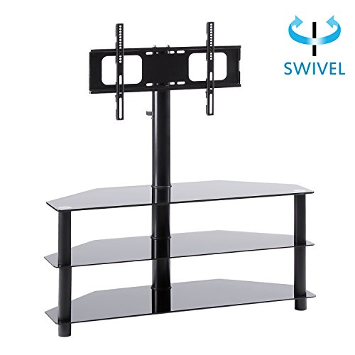 Chrome Wide Tv Stand (RFIVER Black Corner Floor TV Stand with Swivel Mount Bracket Accommodates TVs up to 65-inch, 3-Tier Tempered Glass Shelves for Audio Video, TW2002)