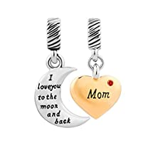 I Love You To The Moon And Back Crystal Sister Heart Dangle Charm Beads Fit Pandora Bracelet