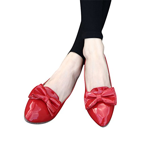Smilun Women's Ballerina Flat Slipper Shoes Slip-Ons Ballet Sweet Shiny Patent leather Red gwTWRO