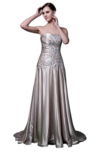 satin verziert traegerlosen Elegante GEORGE Sekt Perlen mit Lange Neu BRIDE Abendkleid 88HxEZqzw