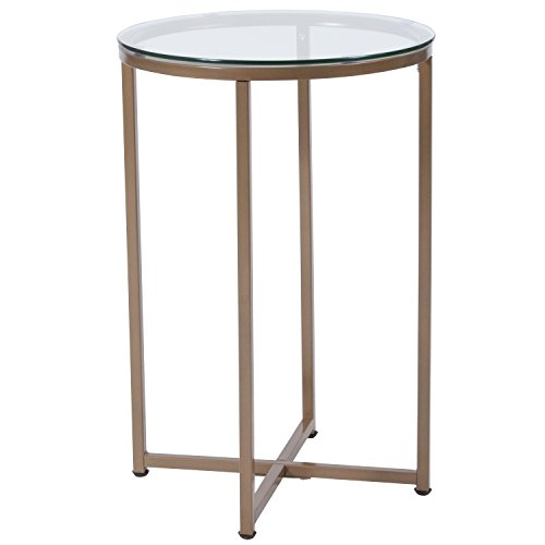 Flash Furniture Greenwich Collection Glass End Table with Matte Gold Frame - NAN-JH-1786ET-GG (Tables Glass Side)