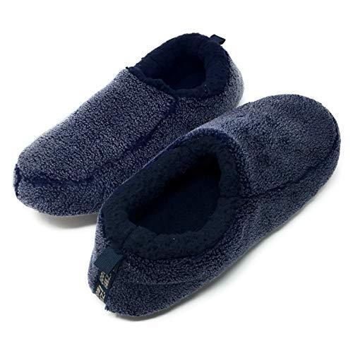 Oooh Yeah Men's Soft Cozy Non-Slip Solid Sherpa Slippers Built in Foam Support Indoor Outdoor Black (Men Sherpa Socks)