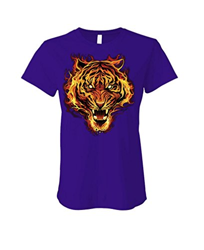 Flaming Tiger Burning Bright Big cat Jungle - Ladies Cotton T-Shirt, 2XL, Purple