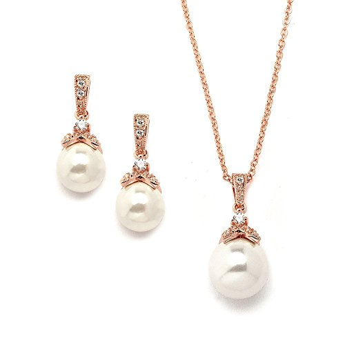Mariell-Vintage-CZ-and-Ivory-Glass-Pearl-Wedding-Necklace-Earrings-Set-Plated-in-Genuine-14K-Rose-Gold