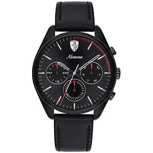 Ferrari Men's 'Abetone' Quartz Stainless Steel and Leather Casual Watch, Color:Black (Model: 0830503)