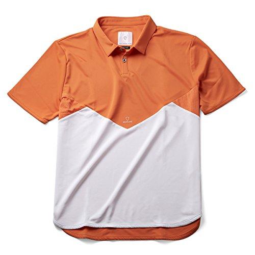 SHIELDS(シールズ) フットゴルフ シャツ 半袖 TREK & TURF ドライメッシュ ポロシャツ 18-A-P01-03 オレンジ/ホワイト XXL