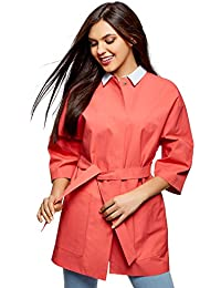Womens 3/4 Sleeve Trench Coat with Press Stud Closure