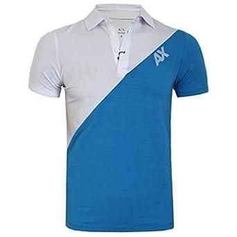 Armani échange homme souple élasthanne MIX DOUBLE COULEUR Polo T-shirt tous coloris S, M, L, XL,XXL - GRIS & BLANC, Small