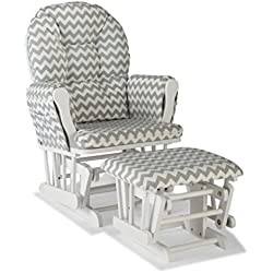 Storkcraft Custom Hoop Glider and Ottoman, White/Gray Chevron