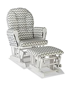 Stork Craft Custom Hoop Glider and Ottoman, White/Gray Chevron
