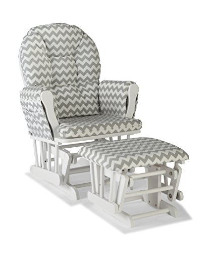 Storkcraft Hoop Custom Glider and Ottoman, White/Gray Chevron