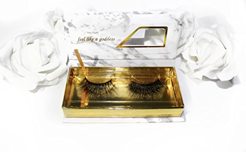 3D Mink Fur Fake Eyelashes 100% Siberian Mink Fur Hand-Made False Eyelashes Mink Lashes Dramatic Eyelashes Olympian Lashes 1 Pair Package (Mink Marble)