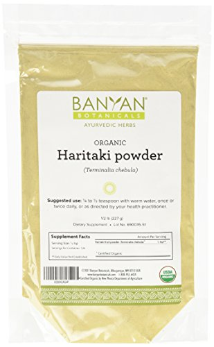 Banyan Botanicals Haritaki Powder - Certified Organic, 1/2 Pound - Terminalia chebula - Detoxification & rejuvenation for Vata*