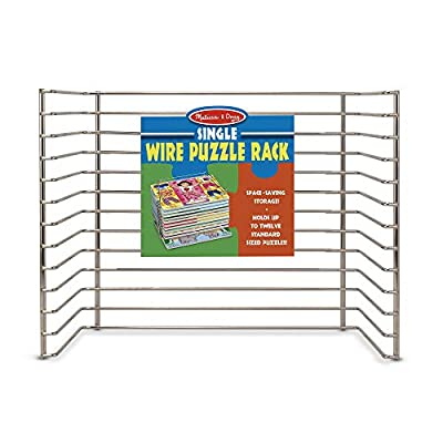 """Melissa & Doug Wire Puzzle Storage Rack, Arts & Crafts, Sturdy Metal Construction, Pre-Assembled, Peg Puzzle Storage, 8.5"""" H x 8.5"""" W x 12"""" L"""