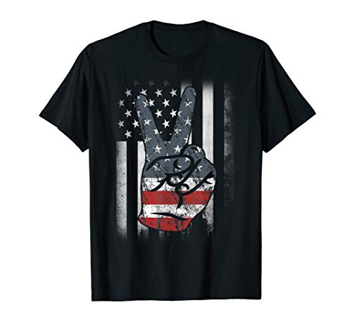 Fourth 4th of July Shirt American Flag Peace Sign Hand Tee American Peace Toddler Shirt