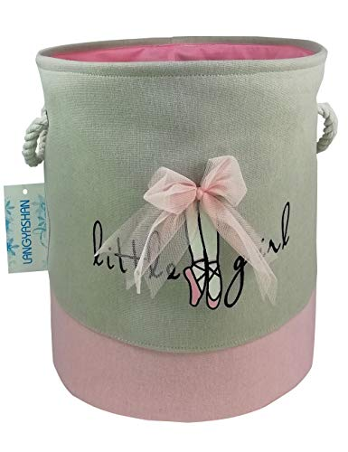 Storage Bin,Cotton Collapsible Pink Organizer Basket for girls Laundry Hamper,Toy Bins,Gift Baskets, Bedroom, Clothes,Baby Nursery(Pink lace)