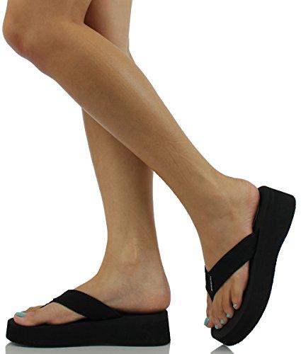 0399e4bb60f3d SODA Women Kaku Rhinestone Thong Slip-on Sandals Eva Wedge ...