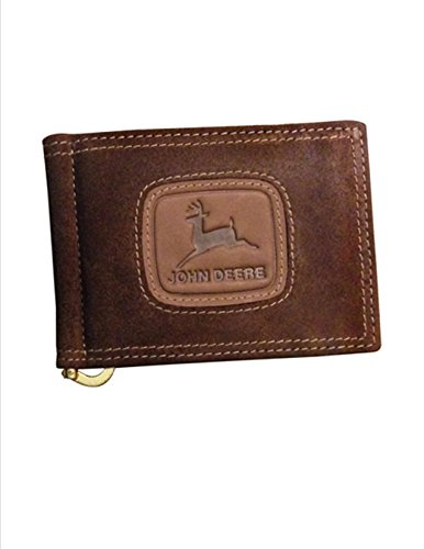 John Deere Distressed Leather BiFold Money Clip Wallet