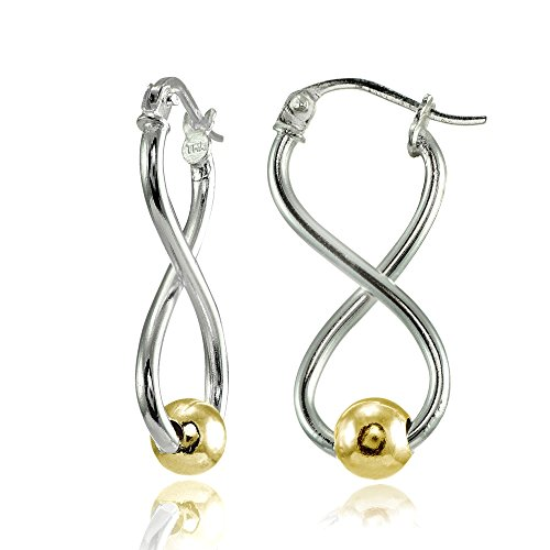 (Sterling Silver Two-Tone Yellow Gold Infinity Figure 8 Bead Drop)