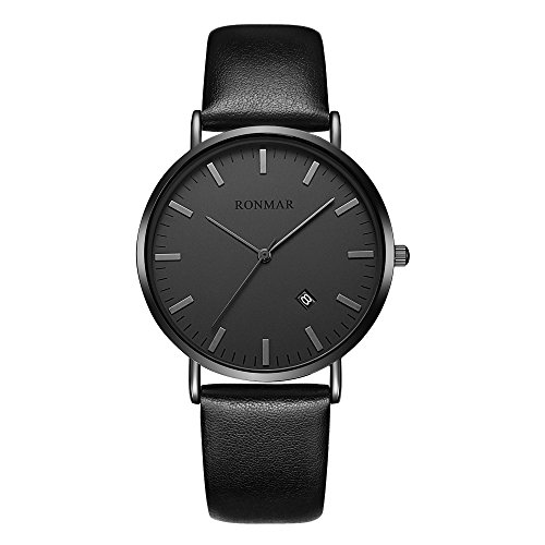 Ronmar Watches for Men, Fashion Ultra-Thin Watch Quartz Calendar Men 's Watches Waterproof Wrist Watches with Black Leather Band (Watch Movement Japanese Quartz)