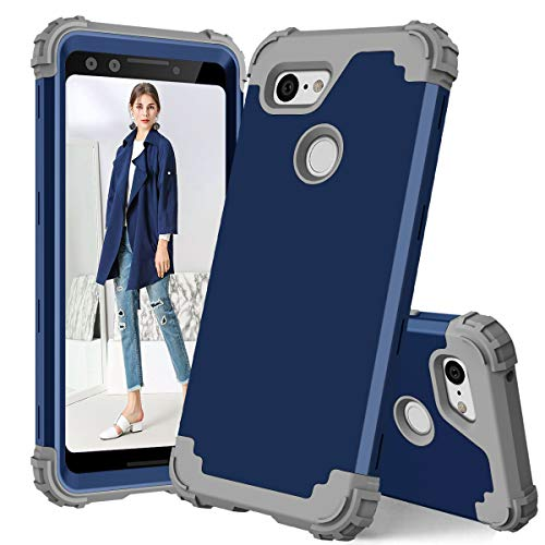 Google Pixel 3 Case,Pixel 3 Case, Ankoe [Heavy Duty] Drop-Protection Hard PC Soft Silicone Combo Hybrid Impact Defender Full-Body Anti-Scratch Case Cover Google Pixel 3 Case (Navy+Grey)