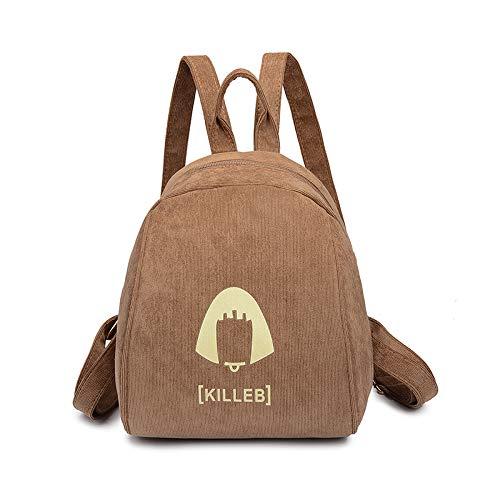 Schoolbag Fsweeth Mini Rucksack Student Tasche drucken drucken drucken Rucksack einfach Retro Corduroy Cashmere Shell Beutel, 21  25  18 cm, Tiefe Khaki Farbe 94ef54