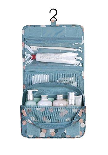 n's Hanging Travel Toiletry Bag Personal Cosmetic Organizer Blue Daisy Print (2 Sided Track Jacket)