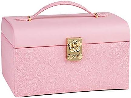 ジュエリーボックス、ジュエリーオーガナイザー、引出し付き、携帯用トラベルケース、指輪、イヤリング、ネックレス、ベルベットの裏地(ピンク)