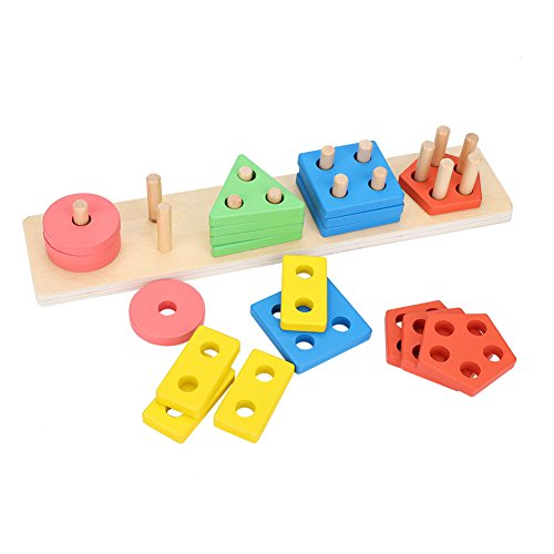 Fdit Wooden Educational Preschool Shape Color Recognition Geometric Board Block Stack Sort Chunky Puzzle Toys Children Baby (Cylinder Shape Column)