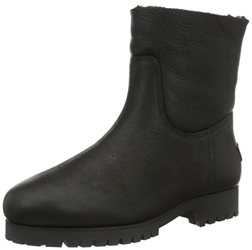 Face para Botines Amsterdam Negro 16cm Shabbies Sole Lined Mujer Commando Boot Lammy Double negro Shaft Real Flat wFfOIqn7