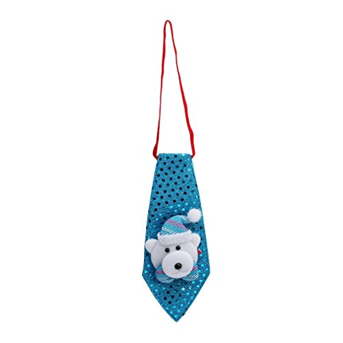 Myhouse Christmas Holiday Necktie Ornament Blue Bear Necktie Kids Party Ornaments