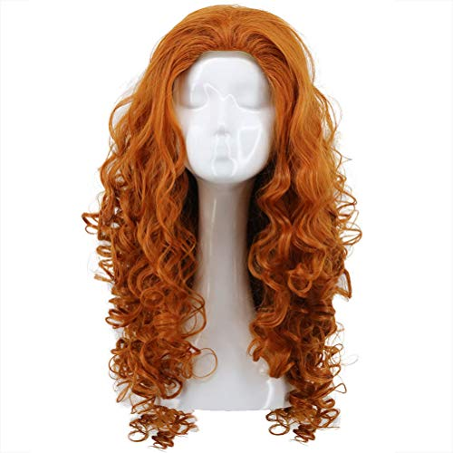 Karlery Women Long Curly Orange Wig Halloween Cosplay Wig Anime Costume Party Wig -
