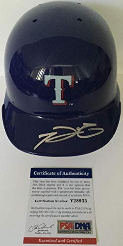 (Coolprince Fielder Autographed Signed Texas Rangers Riddell Mini Helmet with Stand PSA/DNA)