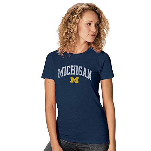 Camp David Michigan Wolverines Womens Ultra Soft Signature Crew Neck T-Shirt - Navy, Womens Small ()