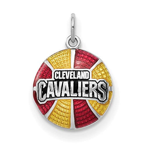 - Sterling Silver Cleveland Cavaliers NBA Ohio Jewelry Pendants & Charms Yellow Red 20 mm 27 mm ClevelCavaliers Enameled Basketball Pendant