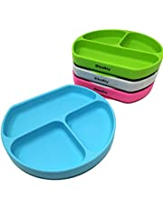 Silicone Suction Plate, 4 PACK, Baby Toddler Plate, Microwave Dishwasher Safe, Divided Plate, BPA Free, o1brand
