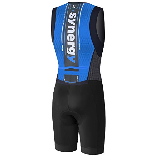 Synergy Triathlon Tri Suit Men's Trisuit (Blue/Geo, Small) by Synergy (Image #1)