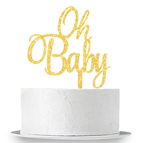 INNORU Gold Oh Baby Cake Topper Boy and Girl Baby Shower Party Supplies Decor