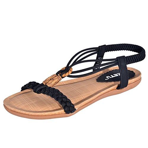 8fa3c1271c0c10 Minetom Femme chaussures de plage Sandales Plate Bout Ouvert Perlees PU.
