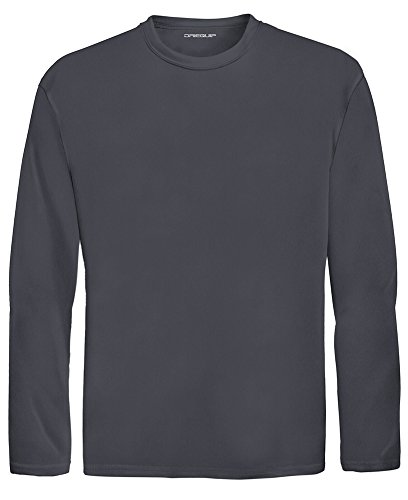 DRI-EQUIP Youth Long Sleeve Moisture Wicking Athletic Shirts. Youth Sizes XS-XL, Iron Grey, ()