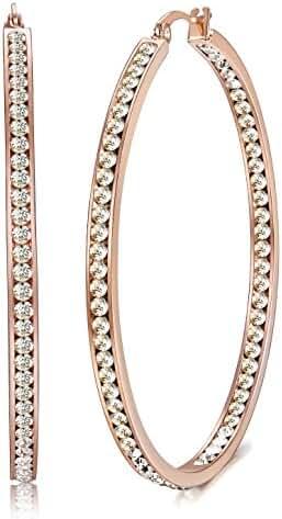 ORAZIO Stainless Steel Women Hoop Earrings Cute Huggie Earrings Cubic Zirconia Inlaid 50MM